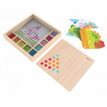 Купить Мозаика-конструктор Classic World Цветные колышки в деревянной коробке Classic World